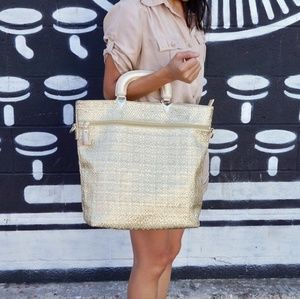 New! Fabulous fold over gold tote